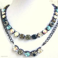 swarovski crystal necklace-choker-better than sabika-denim blue-set-GREAT DEAL