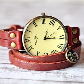 Big Dark Red Leather Watch With Queen Anne's Lace Resin Pendant  - Wrist Watch Women Accessories - Vintage Leather Watch