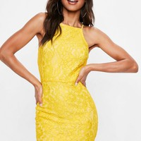Missguided - Yellow Lace Square Neck Bodycon Dress