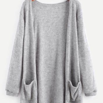 Women Simple Casual Solid Color Loose Long Sleeve Sweater Knit Cardigan Medium Long Section Coat