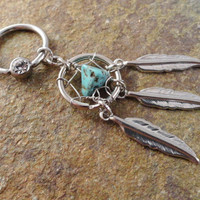 Turquoise Dream Catcher Captive Belly Button by MidnightsMojo