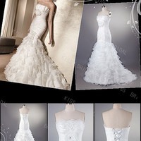 Awesome A-line Floor-Length Strapless Tiered Organza Wedding Dresses 2014 Spring Trends