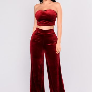 Get The Feel Velvet Pant Set - Burgundy