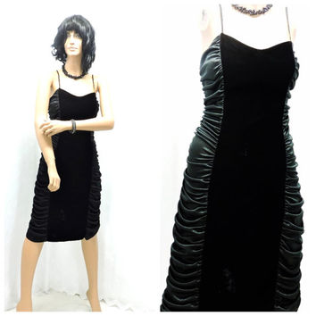 Vintage 80s ruched black velvet lace party dress 10 / 12 black velvet body con dress M 1980s black satin lace velvet dress SunnyBohoVintage