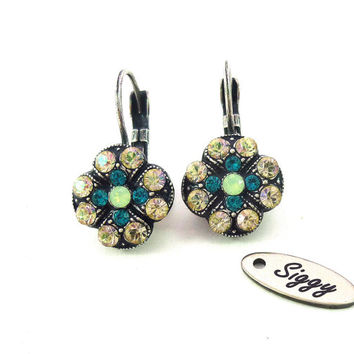 TAHITI Swarovski crystal earrings - multi stone- green and opal clover,  Siggy ISLAND collection