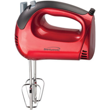 BRENTWOOD HM-46 5-Speed Red Hand Mixer