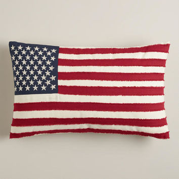 American Flag with Embroidered Stars Lumbar Pillow - World Market