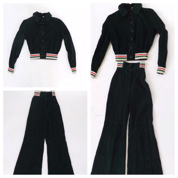 Vintage Kids 1970s Corduroy Bell Bottoms Matching Jacket Outfit Rainbow Flare Pants Childs Little Boy Girl Play clothes Retro Leisure Suit