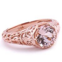 Peach Pink Morganite Vintage-Style Solitaire Ring 14k Rose Gold