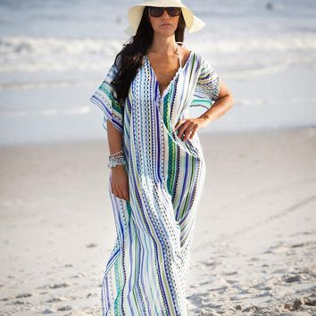 WADE SEA Beach Cover Up Ethnic Print Women Beach Kaftan Cover ups Rayon Saida de Praia Tunics Beachwear Large Size Robe zaful
