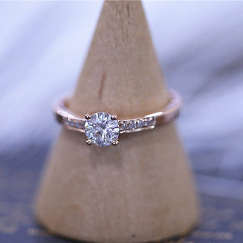 7mm Round Charles & Colvard Brilliant Moissanite Ring Solid 14k Rose Gold Ring Wedding Ring Moissanite Engagement Ring