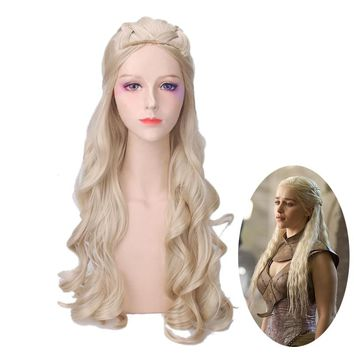 Game of Thrones Daenerys Targaryen Wig Cosplay Costume Princess Stormborn Dany Women Synthetic Hair Party Role Play Wigs