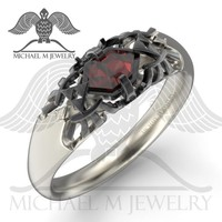 RED AND BLACK ZELDA LEGEND HYRULE CREST RUPEE RING .925, CUSTOMMADE, HANDMADE ***MADE TO ORDER – 119 - Michael M Jewelry