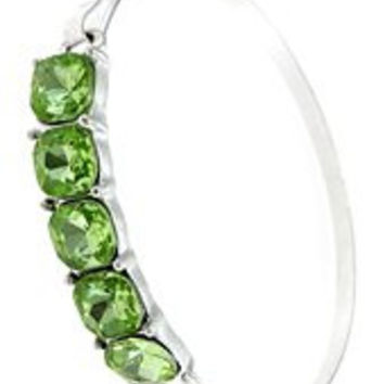 Womens Jewelry, Green Crystals, Silver Tone Metal Hook Bracelet Crystals Silver Tone Metal Hook Bracelet - Materials: Metal - Length: Diamter: 2.5 Inch