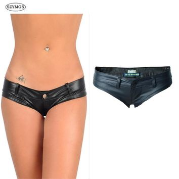 SZYMGS Fashion Elastic  MINI Shorts Faux Leather Booty Shorts Micro Mini Jeans Cheeky Bikini Hot Short Pants Bottom Short