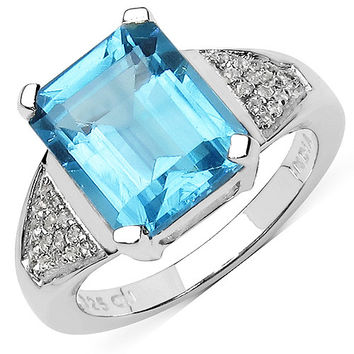 5.85 Carat Swiss Blue And White Topaz Sterling Silver Ring