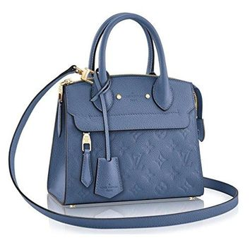 Authentic Louis Vuitton Empreinte Leather Pont-Neuf Mini Tote Cross Body Handbag Article: M41746 Denim