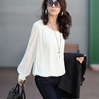 blouses juniors Picture - More Detailed Picture about 2014 New Fashion Women Blouse Sexy Chiffon Blouses Puff Long Sleeve Lace Shirts Loose O neck Casual Tops Plus Size Free Shipping Picture in Tyre Care from Guangzhou E&G Trade Co., Ltd.. Aliexpress.com  