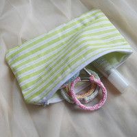 "7""x4.5"" - zipper pouch - zip case bag - kawaii cute princess little girl striped pastel pouch storage travel pouch accessory stationary bag"