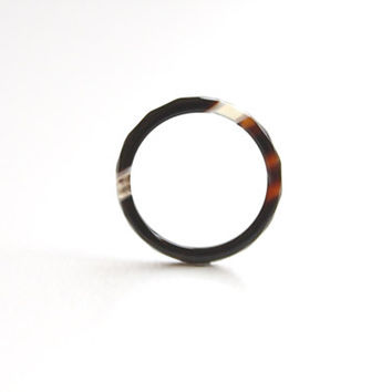 Natural Mix Color Agate Band Ring 2mm. Stackable Gemstone Ring. Faceted Brown, Black, and White Agate Ring. Natural Healing Agate Ring.