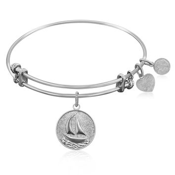 Expandable Bangle in White Tone Brass with Sailboat Smooth Journey Symbol
