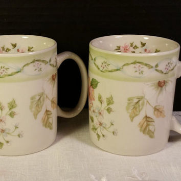 Cottage Trellis Collection by Tracy Porter Poland Numbered Mugs Discontinued Pattern Replacement China Soft Greens Pink White Flowers