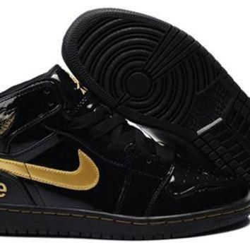 Cheap Air Jordan 1 Retro Black Gold Shoes Online