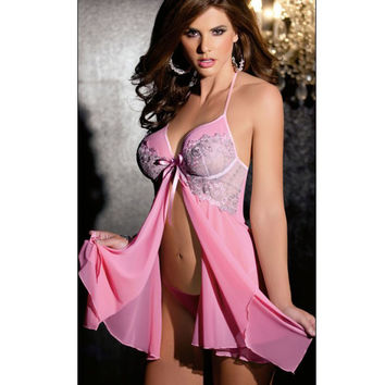 Cute Hot Deal On Sale Sexy Luxury Chiffon Cup See Through Spaghetti Strap Exotic Lingerie [6595713795]