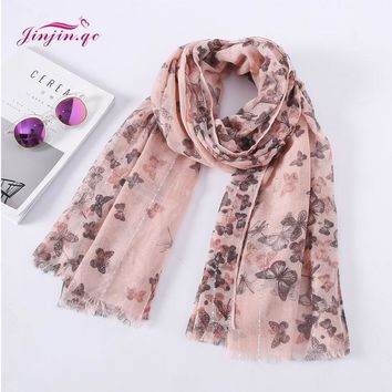 Jinjin.QC Women Butterfly Pattern Sequins Cotton Fringe Scarf girl Shawls and Wraps echarpe foulard femme lady viscose Hijabs