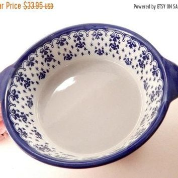 Blue and White Serving Bowl Ceramic Casserole Dish Delft Stoneware Vintage Kitchen Bakeware Cookware