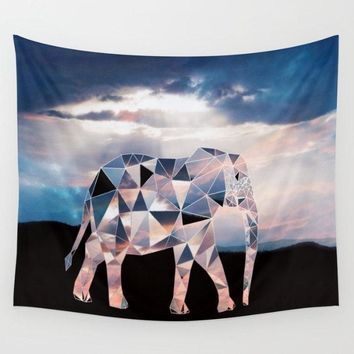 Reiki Charged Pink Polyscape Elephant Geometric Africa Tapestry Wall Hanging