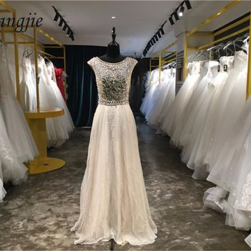 2018 New Arrival Evening Dresses Scoop Cap Sleeve Beaded and Crystals Floor Length Formal Party Prom Dresses Vestidos De Festa