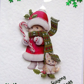 Christmas Card - Seasons Greetings Hand-Crafted 3D Decoupage Card - (1625)