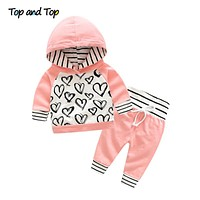 Fashion Cute Infant Newborn Baby Girl Clothes Hooded Sweatshirt Striped Pants Outfit Cotton Baby Tracksuit Set
