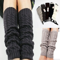 Womens Fashion Winter Knit Crochet Knitted Leg Warmers Legging Boot Cover 5 colors = 1946194372