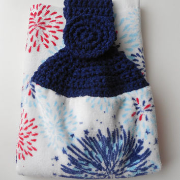 Kitchen Towel - Crochet Top - Fireworks - Red White and Blue - Patriotic - Hanging Towel - Handmade Crochet - Made to Order