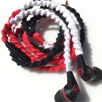 Bold Triad - Tangle Free Earbuds - Wrapped Headphones - Your Choice of Headphones