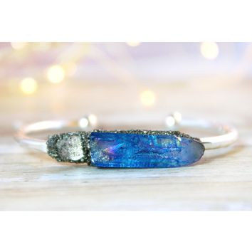 Tanzine Aura Quartz & Herkimer Diamond April Birthstone Gemstone Bracelet