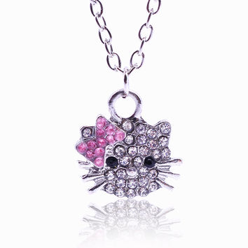 2016 Fashion Full Rhinestone Statement Necklace Cute Little Hello Kitty Crystal Drop Necklaces & Pendants Charms Collares Mujer