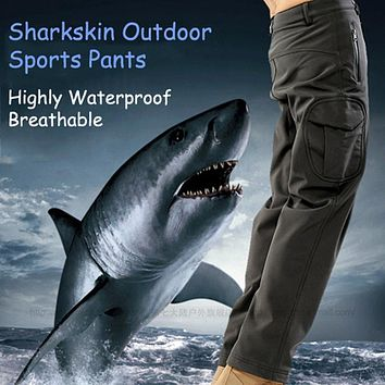 SAGUARO Cargo Pants Men 2017 Winter Fleece Casual Trousers New TAD Shark Skin Waterproof Breathable Military Tactical Pants 3XL