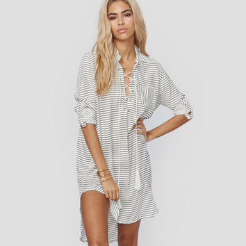Women's Long Sleeves Blouse Beach Dress Swimsuit Cover Up