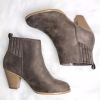 Simply Sweet Taupe Suede Booties