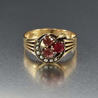 Antique Pearl Crescent Moon and Clover Garnet Ring