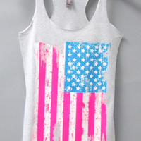 Tri Blend Racerback Tank Top - US Flag