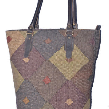 India Traditional Handmade Wool Jute Rug Rag Bag,Purse,Specially Women Purse,Special Occasion Boho Bag,Hippie Killim Look Bags,All Place Use
