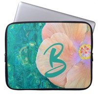 Hibiscus flower on turquoise water laptop sleeve