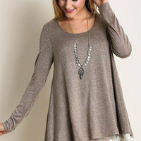 Plus Size Mocha Lace Tunic