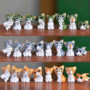8pcs Kawaii Cheese Cat Miniature Figurine Fairy Miniatures Figurines japanese anime children figure world Action Toy Figures