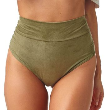 Olive Faux Suede High Rise Bikini Bottom