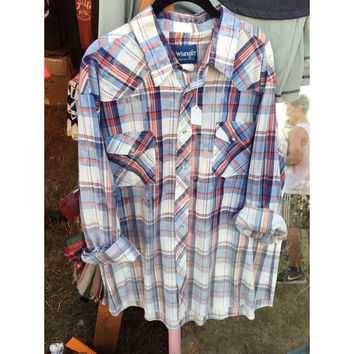 Distressed Pearl Snap Button Up XXL
